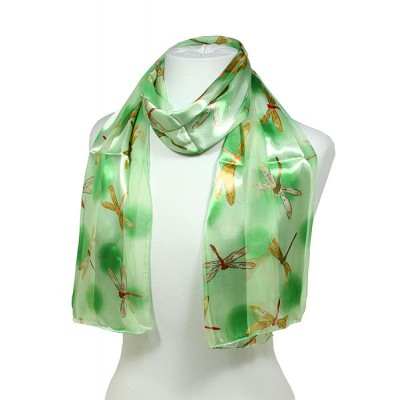 Scarf - 12pcs Dragonfly Print Scarves - Green/Yellow - SF-SSPO6018GNYL