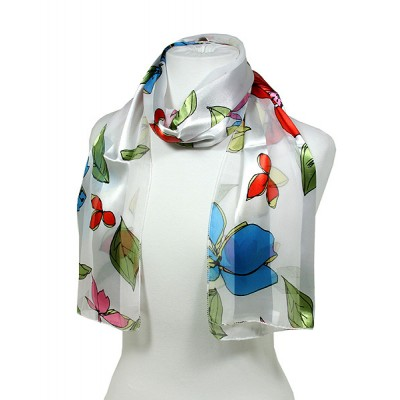 Scarf - 12pcs Floral Print Scarves - White - SF-SSPO7993WH