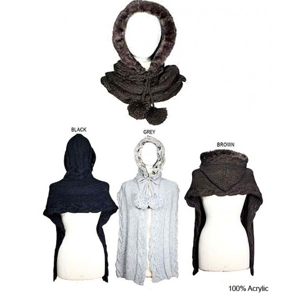 Scarf - Cable Knitted w / Faux Fur Trim Hood - SF-10KS288