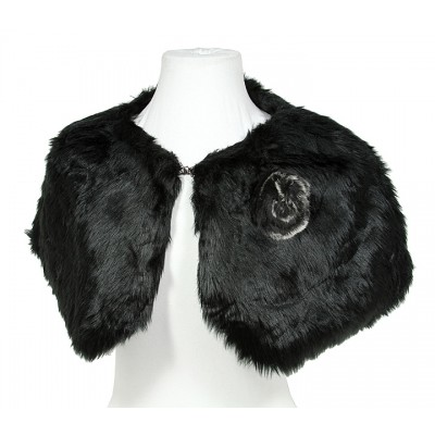 Scarf - Faux Fur W/Rabbit Fur Brooch - Black - SF-BF001BK