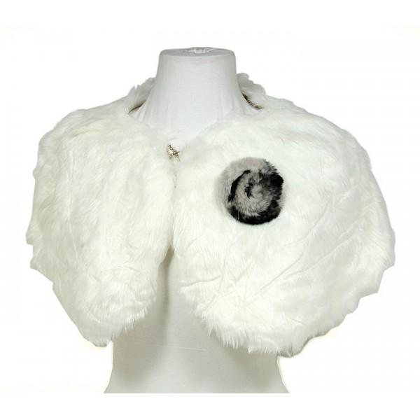 Scarf - Faux Fur W/Rabbit Fur Brooch - Ivory - SF-BF001IV
