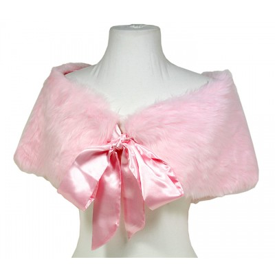 Scarf - Caplet - Faux Fur W / Satin Ribbon Bowb- Light Pink - SF-BF004LPK