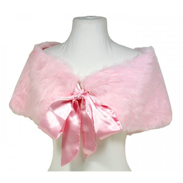 Scarf - Caplet - Faux Fur W / Satin Ribbon Bowb- Light Pink - SF-BF004LPK