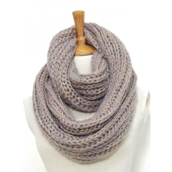 Infinity Scarf - Knitted Chain w/ Glittery Thread - SF-CG286