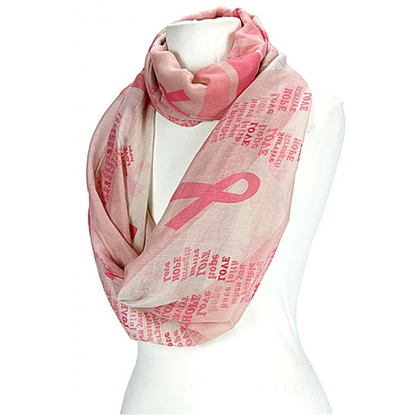 Scarf - Infinity Scarf - Pink Ribbon - Pink - SF-OF014PNK