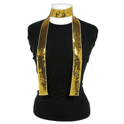 Scarf - Square Sequined Scarf - Gold - SF-SFS109102