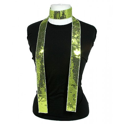 Scarf - Square Sequined Scarf - Lime Green - SF-SFS109106