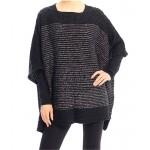 Poncho/ Shawl - Lurex Stripe Knitted - Black - SF-FW212BK
