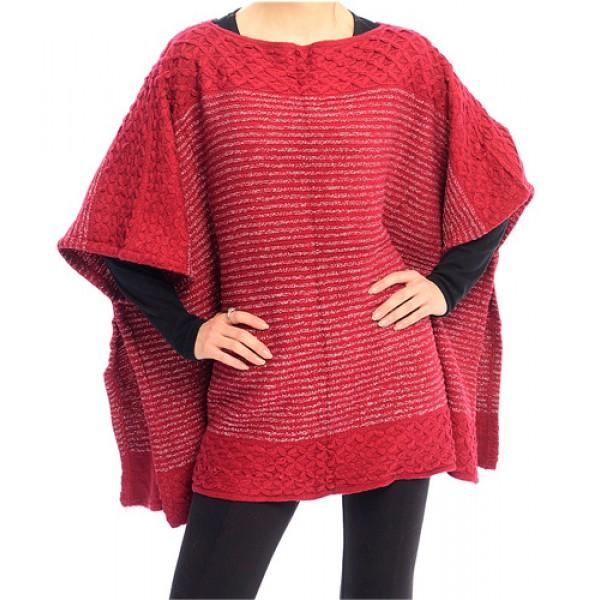 Poncho/ Shawl - Lurex Stripe Knitted - Wine - SF-FW212WN