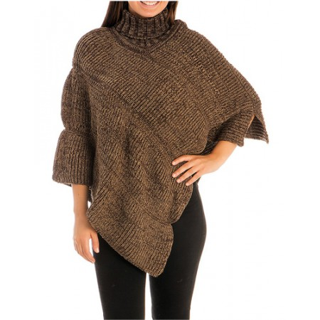 Poncho/ Shawl - Knitted Turtleneck - SF-FW242BN