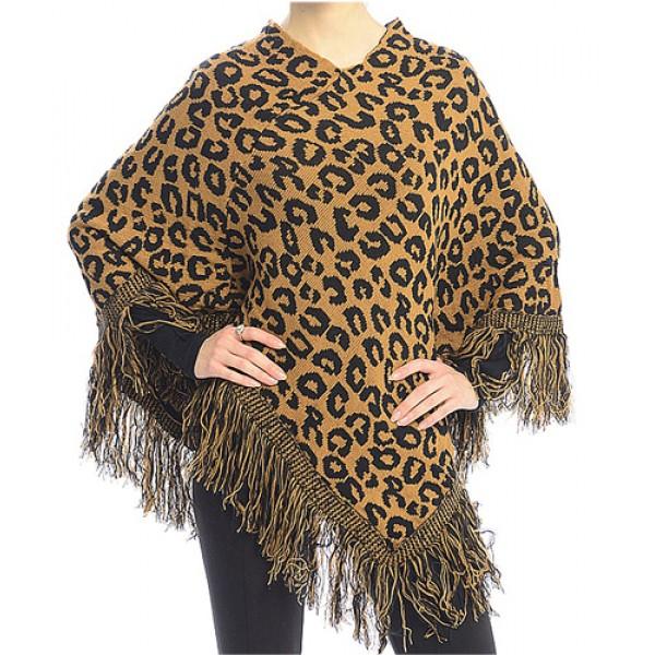 Poncho/ Shawl - Leopard Print with Fringed Hem - Camel - SF-FW411CA