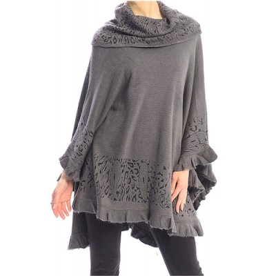 Poncho/ Shawl - Turtleneck Ruffled Hem - Grey - SF-FW421GY