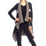 Cardigan/ Vest - Geometric Pattern - Coffee - SF-FW532CF