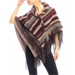 Poncho/ Shawl - Dual Layer with Fringes - Wine - SF-FW722WN