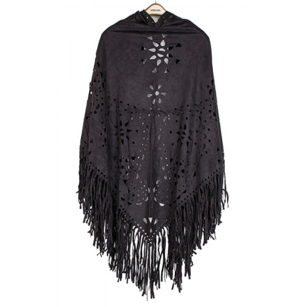 Poncho/ Shawl - Faux Suede Wrap with Laser Cut Graphic and Fringed Hem - Black - SF-FW812BK
