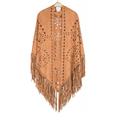 Poncho/ Shawl - Faux Suede Wrap with Laser Cut Graphic and Fringed Hem - Tan - SF-FW812TN