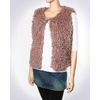 Scarf - Shawl / Wrap : Faux Lamb Fur Solid Color Vest - SF-LFSV3850INPN