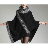Poncho - Knitted Turtle Neck with Faux Fur Trim  SF-RUM27BK