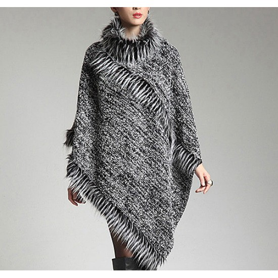Poncho - Knitted Turtle Neck with Faux Fur Trim  SF-RUM27GY