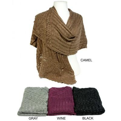 Scarf - Shawl - Ribbed w / Crochet Eyelet - SF-SH7311
