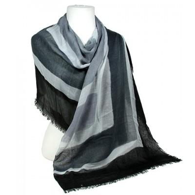 Scarf - Shawl - Concentric Square Print - Black /Gray - SF-SSF50545BKX