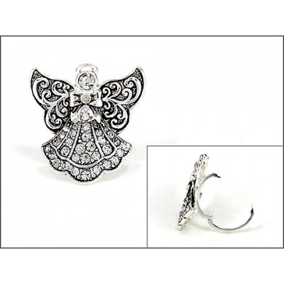 Scarf Ring - Rhinestone Paved Angel Charm - SR-OG00085ASCRY