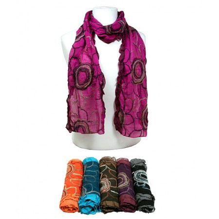 Scarf - 12pcs Floral Stitch Scarves - Assorted Colors - SF-862-12
