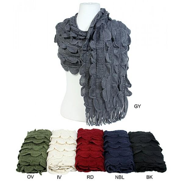 Scarf - Crochet Ruffle Scarf w/ Fringes - SF-S1344