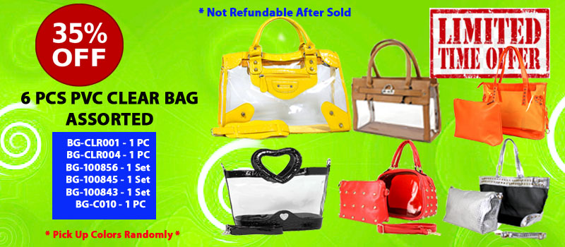 6 pc Assortment PVC Clear Bags @FashionWholesaler.com