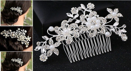 Wedding Hair Accessories/Hair Comb/Flower-Wedding-Hair-Comb-Pins-Crystal-Diamante-Pearls