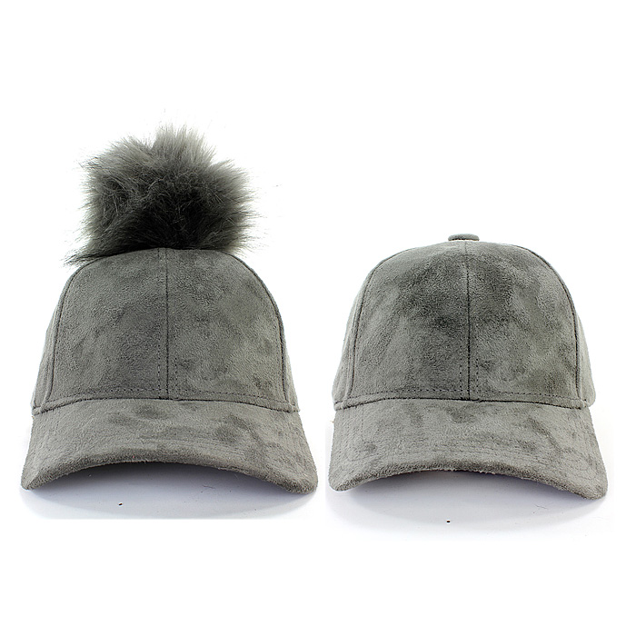 fc6b563f6cf ... Baseball Cap - Faux Suede w  Detachable Faux Fox Fur Pom Pom - Grey ...