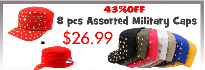 43% off 8 pcs Assorted Military Caps Pack